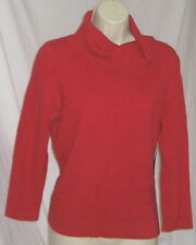 ~ NWT Jones New York Red 100% Cashmere Sweater Buttoned Turtleneck Jumper S ~