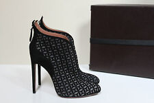 New sz 9 / 39 Azzedine Alaia Black Gray Cut out Suede Ankle Bootie Heel Shoes