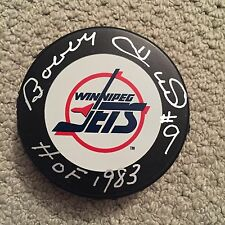 BOBBY HULL SIGNED W/ HOF WINNIPEG JETS PUCK COA SCHARTZ SPORTS AUTHENTIC