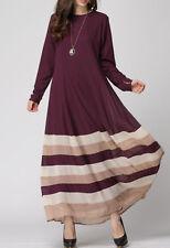Women Vintage Striped Kaftan Abaya Jilbab Islamic Muslim Long Sleeve Maxi Dress