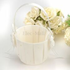 Ivory Satin Bowknot Diamante Pearl Flower Girl Basket for Wedding Ceremony Party