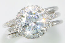 1.75 ct Round with Double Bands Top CZ Imitation Moissanite Simulant SS Size 7