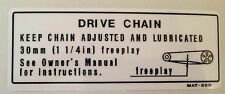 KAWASAKI ZXR750H ZXR750H1 ZXR750H2 DRIVE CHAIN INFORMATION CAUTION WARNING DECAL