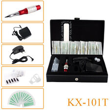 Pro Permanent Makeup Machine Kit Eyebrow Tattoo Pen Needles Tips Power Supply