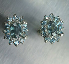 1.25cts Natural silver blue Sapphires & Zircon Sterling 925 Silver stud earrings