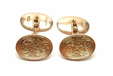 Gold cufflinks Antique heavy oval  9 carat gold Chester 1913