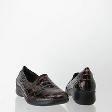 Women's Clarks Gael Angora Shoes Brown Crocodile Print Loafers Size 5.5 M NEW!