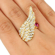 AIMO Angel Wing Cocktail Ring Size 8 Clear Austrian Crystal Gold GP Women Party