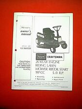 "CRAFTSMAN 26"" REAR ENGING RIDING MOWER MODEL 131.969120 OWNERS WITH PARTS MANUAL"