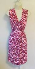 Diane von Furstenberg Noe leopard leaves pink white dress scoop drape 8 Dahlia