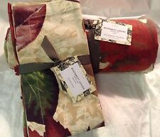 Pottery Barn Windswept Leaves Set (4) Napkins & Tablecloth  70x108 NWT! Linen