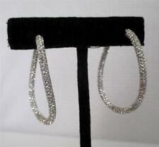NADRI Micro Pavé Swarovski Crystal Wave Hoop Hinged Earrings Rhodium Plated