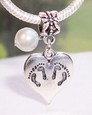 Twins Footprint Heart June Birthstone Dangle Bead for European Charm Bracelets