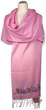 Pashmina Schal,  bestickt, scarf stole embroidered silk Seide Rosa light pink