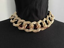 NWT CHANEL $5200 2016 CRUISE 16C CRYSTAL GOLD LINK CHOKER NECKLACE DRAGON DUBAI