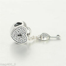 GENUINE AUTHENTIC PANDORA SILVER  LOCK OF LOVE CHARM 791429CZ (HEART WITH KEY)