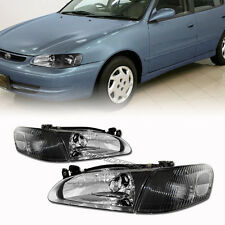 Black Housing Clear Lens Headlight Corner Light Lamps For 98-00 Toyota Corolla