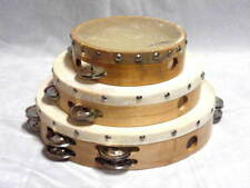 """LOT of 3 AP HAND MADE WOOD TAMBOURINES w/GOAT SKIN HEADS 6""""-8""""-10"""" GREAT SOUND!"""