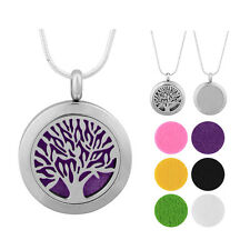 Tree Aromatherapy Essential Oil Diffuser Cage Stainless Steel Necklace Pendant