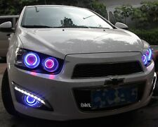 2x LED DRL Daytime Day Fog Lights +Angel Eyes For Chevrolet Sonic Aveo 2011-2013