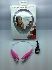 NEW BLUETOOTH STEREO HEADSET HANDSFREE AROUND THE NECK UNIVERSAL PINK