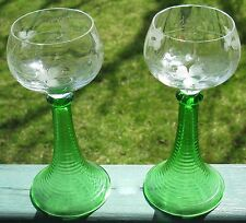 VINTAGE PAIR of BOHEMIAN WINE GLASSES CLEAR ETCHED BOWL THREADED GREEN STEM