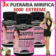 3 x BOTTLES ◆ PUERARIA MIRIFICA 3000 ◆ BUST FIRMING BREAST ENLARGEMENT CAPSULES