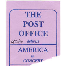 AMERICA Concert Ticket Stub AUGUSTA 6/30/90 THE POST OFFICE SISTER GOLDEN HAIR