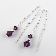 Sterling Silver 925  Amethyst Swarovski Elements  Pull Through Drop Earrings