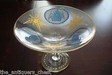 Footed glass bowl reversed etched blue flowers and golden leaves, gorgeous [a5]
