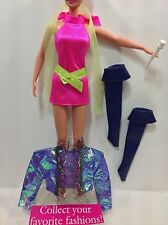 BARBIE~ROCKERS~REPRO 80s~HALTER DRESS~COAT~SCARF~BELT~VINYL BOOTS~MICROPHONE