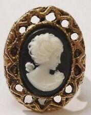 bague bijou vintage panier ajouré camée buste femme réglable couleur or *1899