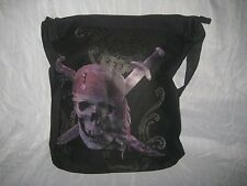 Black Pirates of The Caribbean Skull Messenger Tote Canvas Shoulder Book Bag