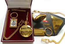 FREEMASON 24ct GOLD Luxury Hunter POCKET WATCH & KEYRING Gift Set Case