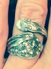 """RARE Pattern GORHAM """"Lily of the Valley"""" H345 Sterling Silver Spoon Ring"""