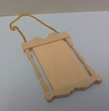 Dollhouse mini 1:12 scale wooden store sign with chains / Ready to custom finish