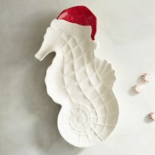 PIER 1 COASTAL CHRISTMAS Seahorse with Santa Hat Serving Platter SOLD OUT NEW