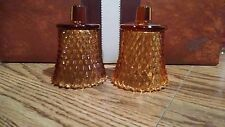 2 Vtg AMBER  DIAMOND POINT Glass Peg Candle Holders Votive Cup Home Interior