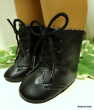 """**SALE** BLACK Lace-Up Historical BOOTS DOLL SHOES fits 18"""" AMERICAN GIRL DOLL"""