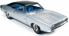 1968 Dodge Charger R/T Silver Metallic 1:18 Auto World 1033