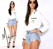 VTG 80s 90s Chic White NAUTICAL SAILOR Embroidered GOLD CREST Blouse SHIRT Top