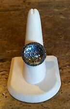 BEAUTIFUL STERLING SILVER CLEAR QUARTZ AND MARCASITE MYSTERY BALL RING SIZE 10