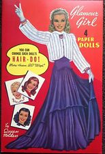 Glamour Girl Paper Doll Book, Queen Holden Repro, 1985, 6 Pages Of Clothes