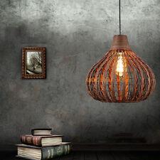 Retro Rattan & Metal Caged Shade Pendant Lamp Industrial Loft Ceiling Lighting