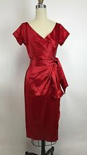 Pin Up Couture Red Valentine Satin Ava Wrap Evening Dress Retro Glam Small $114