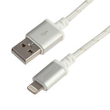 Pangea Audio Lightning to USB A Cable White Silver Braid Metal Connectors 4 Feet