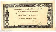 BANQUE DE FRANCE VERSEMENT D'OR 191x Pour la defense NATIONALE VIERGE CERTIFICAT