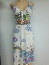 New Butterfly Dropout Womens Colorful Maxi Long Sun Dress Light Blue Size Small