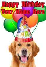 Golden Retriever DOG Happy Birthday PID732 A5 Personalised Greeting Card PARTY