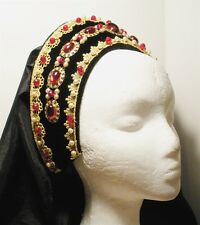Queen Claude Tudor Renaissance French Hood Headpiece Hat 4 Dress Gown Gold Red